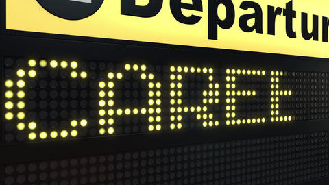 CAREER word appearing on departure board Live Action