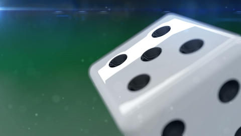 White dice rolling in motion Animation