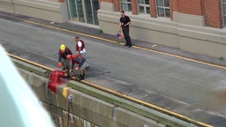Halifax Nova Scotia New Scotland Canada 017 dockworkers are fixing cruise ship Footage