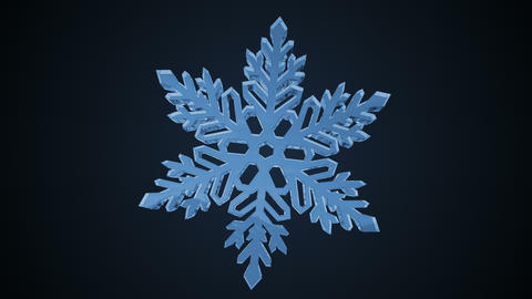 Animation of rotating snowflake. 3d animation Stock Video Footage