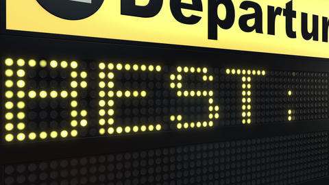 BEST PLACE words appearing on airport departure board. Conceptual 3D animation Live Action