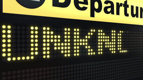 UNKNOWN word appearing on airport departure board. Conceptual 3D animation Live Action