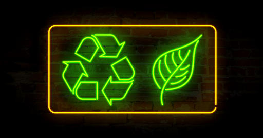 Recycling symbol with leaf CG動画素材