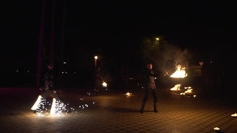 Krasnodar, Russia - June 2, 2018: fire show performance Live Action