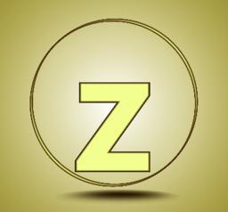 Letter Z lowercase, round golden icon on light golden gradient background Vector
