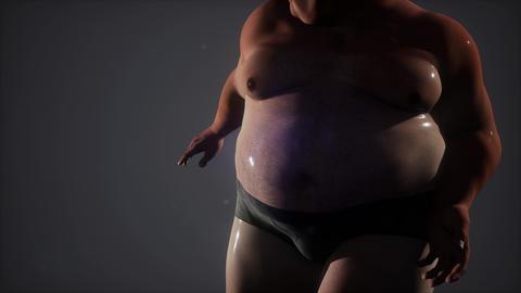 wet fat man in stidio ビデオ