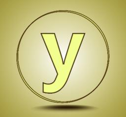 Letter Y lowercase, round golden icon on light golden gradient background ベクター