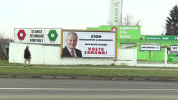 OLOMOUC, CZECH REPUBLIC, JANUARY 18, 2018: Billboard in support of the candidacy Footage