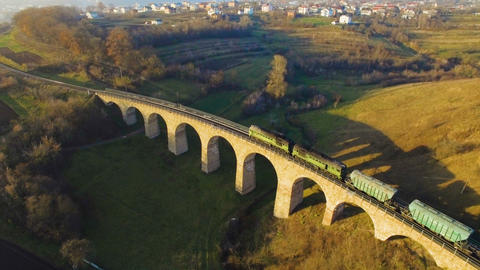Aerial 4k of the Disused Fleet Viaduct with arches in the Highlands of Europe ビデオ