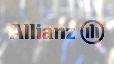Allianz logo on a glass against blurred crowd on the steet. Editorial 3D ビデオ