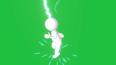 Running Round Figure with Lightning Strikes: Loop + Matte Animation