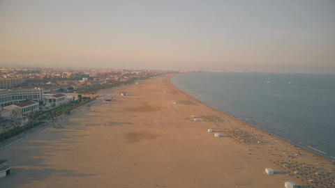 Aerial view of the big sand beach at sunset ビデオ