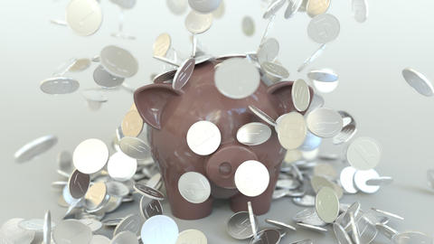 Coins fall on piggy bank. Conceptual 3D animation GIF