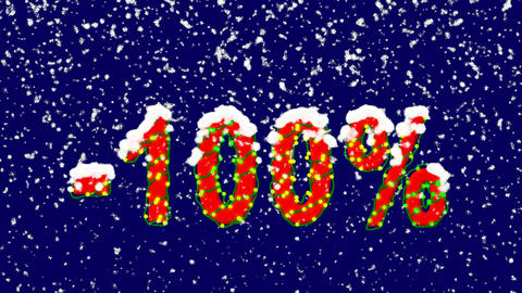 New Year text sale label -100%. Snow falls. Christmas mood, looped video. Alpha Animation