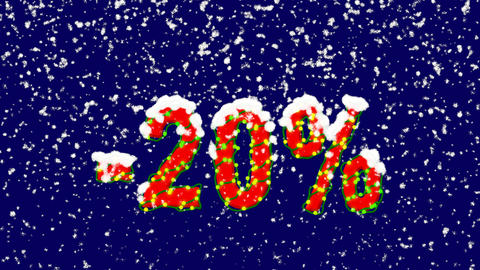 New Year text sale label -20%. Snow falls. Christmas mood, looped video. Alpha Animation