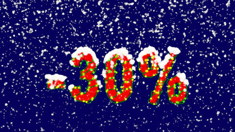 New Year text sale label -30%. Snow falls. Christmas mood, looped video. Alpha Animation