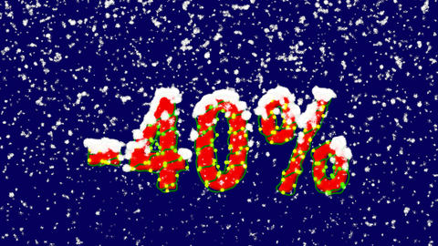 New Year text sale label -40%. Snow falls. Christmas mood, looped video. Alpha Animation