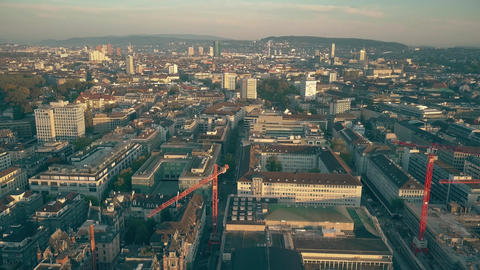 Aerial view of Zurich cityscape and lake shore GIF