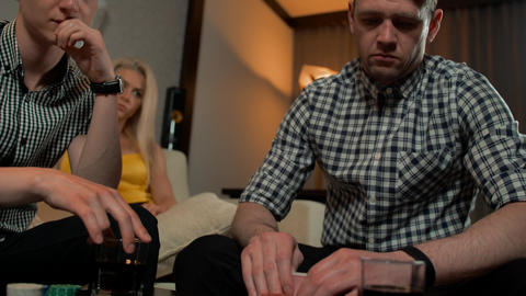 Male move poker chips to bet on everything Footage