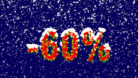 New Year text sale label -60%. Snow falls. Christmas mood, looped video. Alpha Animation