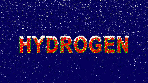 New Year text Element of periodic table HYDROGEN. Snow falls. Christmas mood, Animation