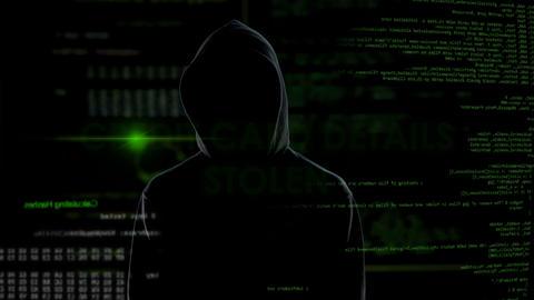 Financial hacker stealing credit card details, bank account block, money loss Footage