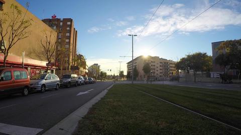 Tram Line Avenue Sunsent Footage