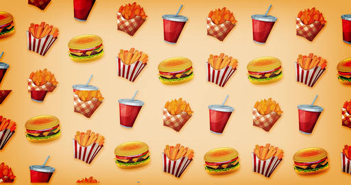 Loopable 2d Motion Graphics Fast Food Background Animation