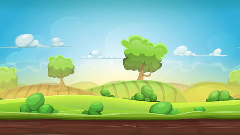 Cartoon Country Landscape Animation Loop Animation