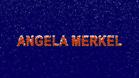New Year text Person of the World Politics ANGELA MERKEL. Snow falls. Christmas Animation