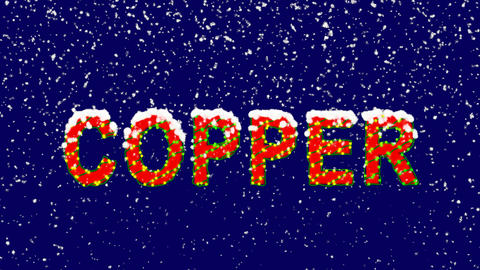 New Year text Element of periodic table COPPER. Snow falls. Christmas mood, Animation