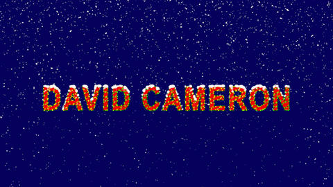 New Year text Person of the World Politics DAVID CAMERON. Snow falls. Christmas Animation
