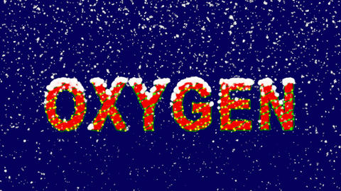 New Year text Element of periodic table OXYGEN. Snow falls. Christmas mood, Animation