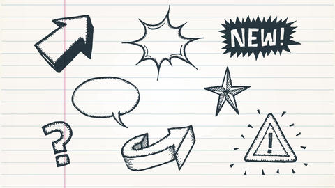 Doodle Arrows, Signs And Sketched Elements Animation Animation