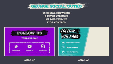Grunge Social Outro After Effects Template