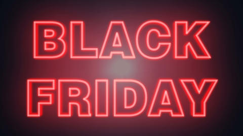 neon Black Friday writing and 50 animated discount ideal for the sales period Footage