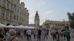 Krakow, Poland. The old town and strolling tourists Footage