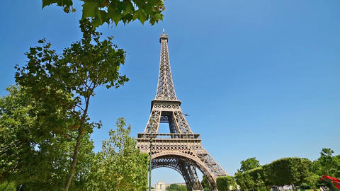World famous Eiffel tower under a clear sky Footage