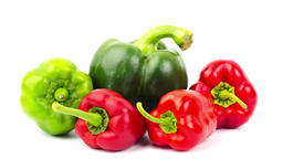 Red, yellow, orange and green sweet bell pepper in white background Footage