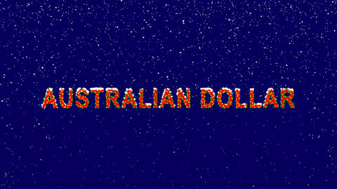 New Year text Currency name AUSTRALIAN DOLLAR. Snow falls. Christmas mood, Animation