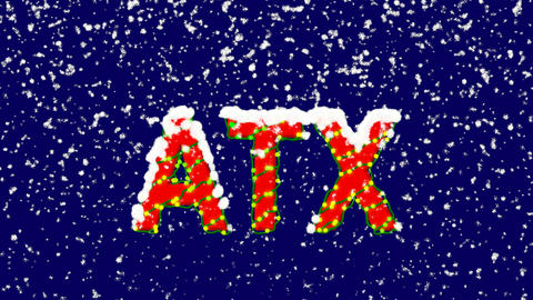 New Year text World stock index ATX. Snow falls. Christmas mood, looped video. Animation