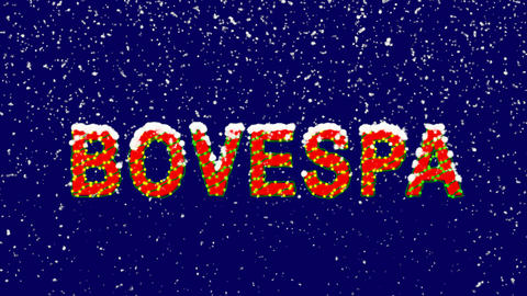 New Year text World stock index BOVESPA. Snow falls. Christmas mood, looped Animation