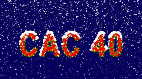 New Year text World stock index CAC 40. Snow falls. Christmas mood, looped Animation