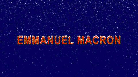 New Year text Person of the World Politics EMMANUEL MACRON. Snow falls. Animation