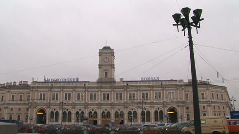 Moscow railway station in saint Petersburg Stock Video Footage