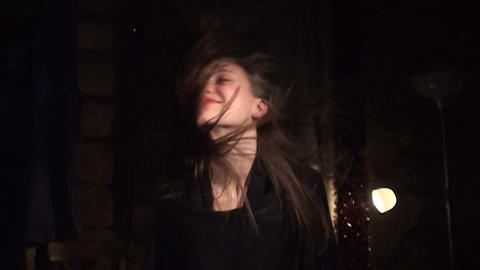 Beautiful girl shakes her hair Footage