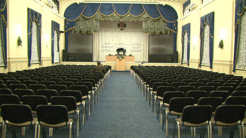 The ancient hall with a seating Stock Video Footage
