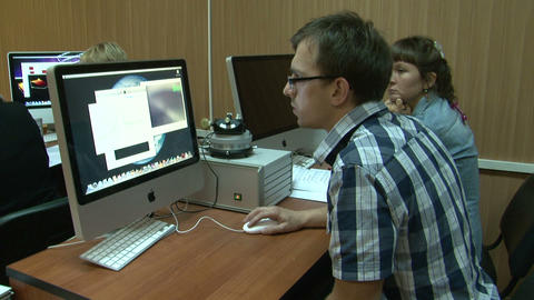 Student at the computer in the lab Stock Video Footage
