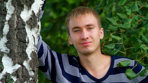 Beautiful young man posing Stock Video Footage