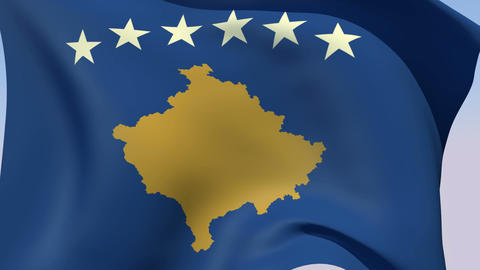 Flag Of Kosovo stock footage